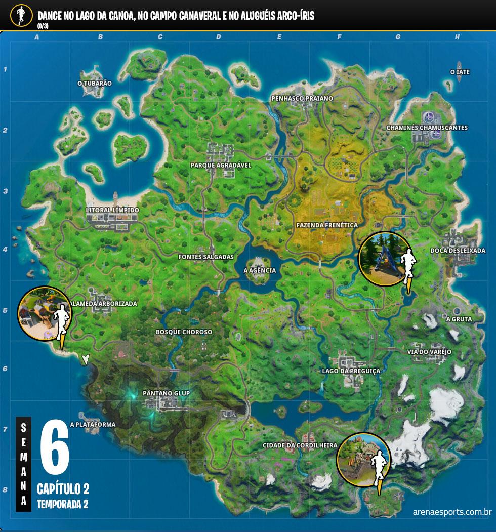 Localização do Lago da Cano, do Campo Canaveral e do Aluguéis Arco-íris no Fortnite