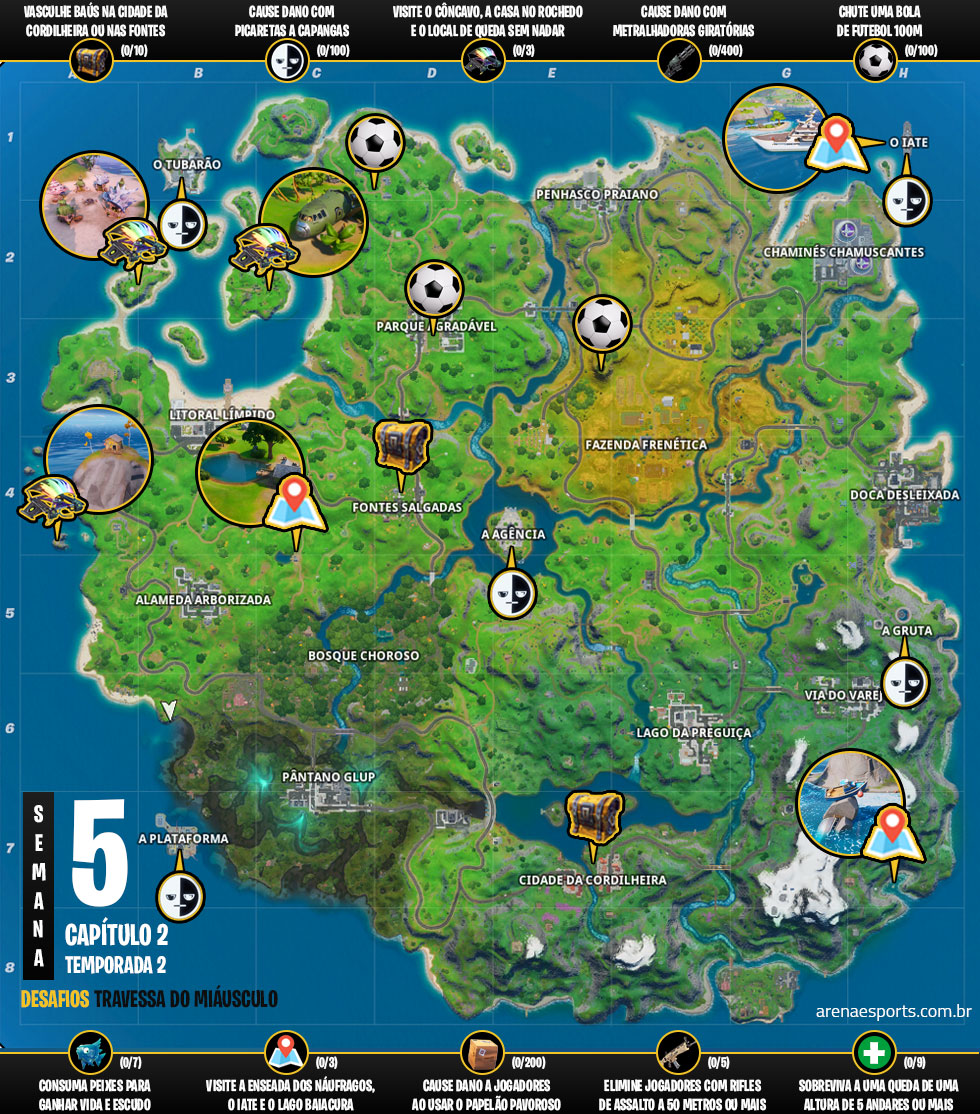 Mapa dos desafios Travessa do Miáusculo no Fortnite