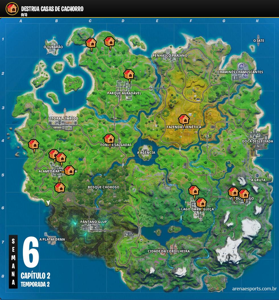 Localização das casas de cachorro no Fortnite