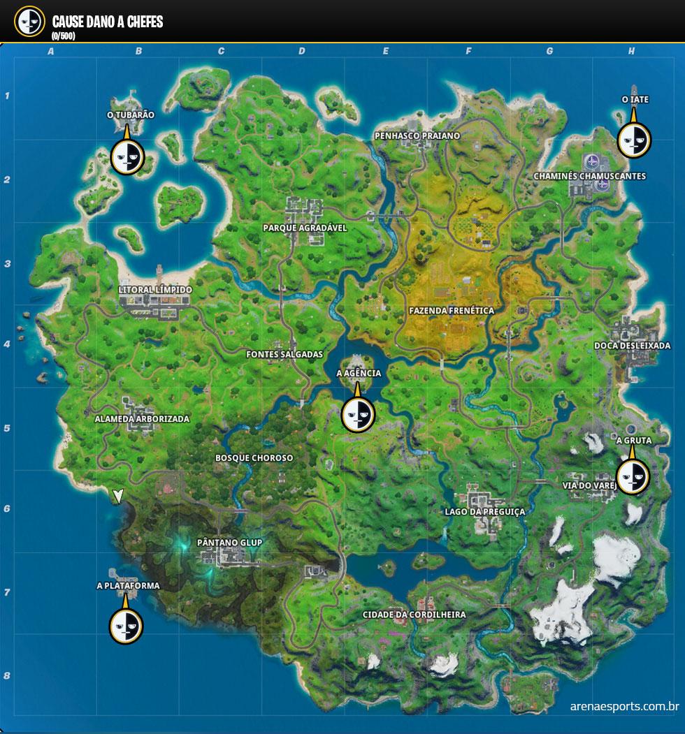 Localização dos chefes no Fortnite