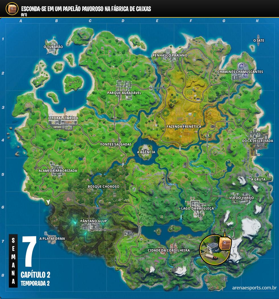 Localização da Fábrica de Caixas no Fortnite