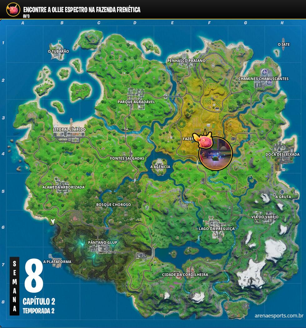 Localização da Ollie ESPECTRO no Fortnite