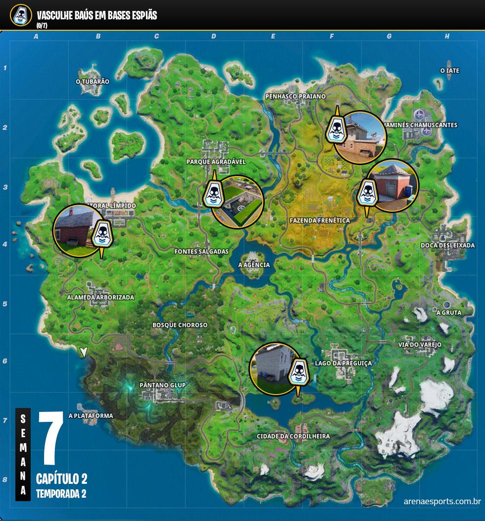 Localização das Bases Espiãs no Fortnite