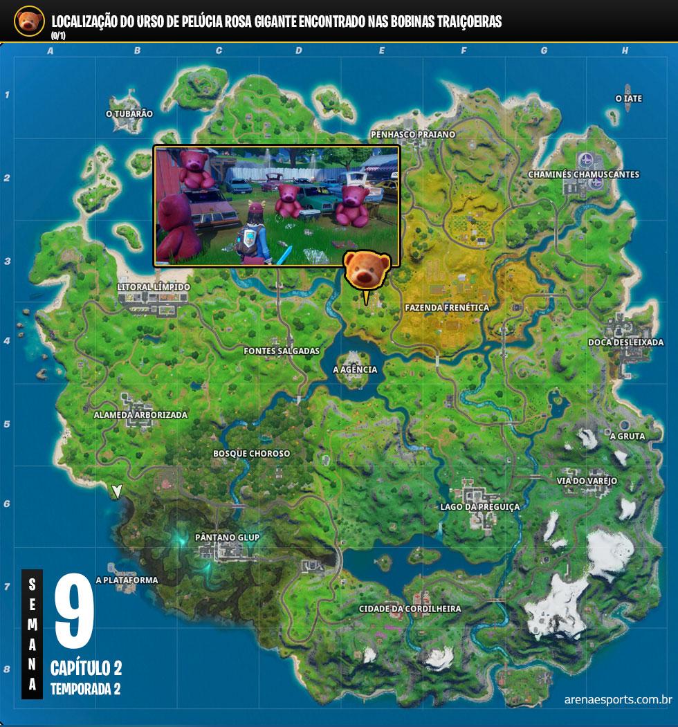 Localização do urso de pelúcia rosa gigante no Fortnite
