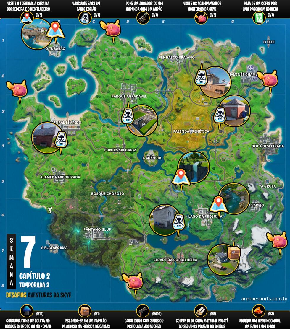 Mapa dos desafios Aventuras da Skye no Fortnite