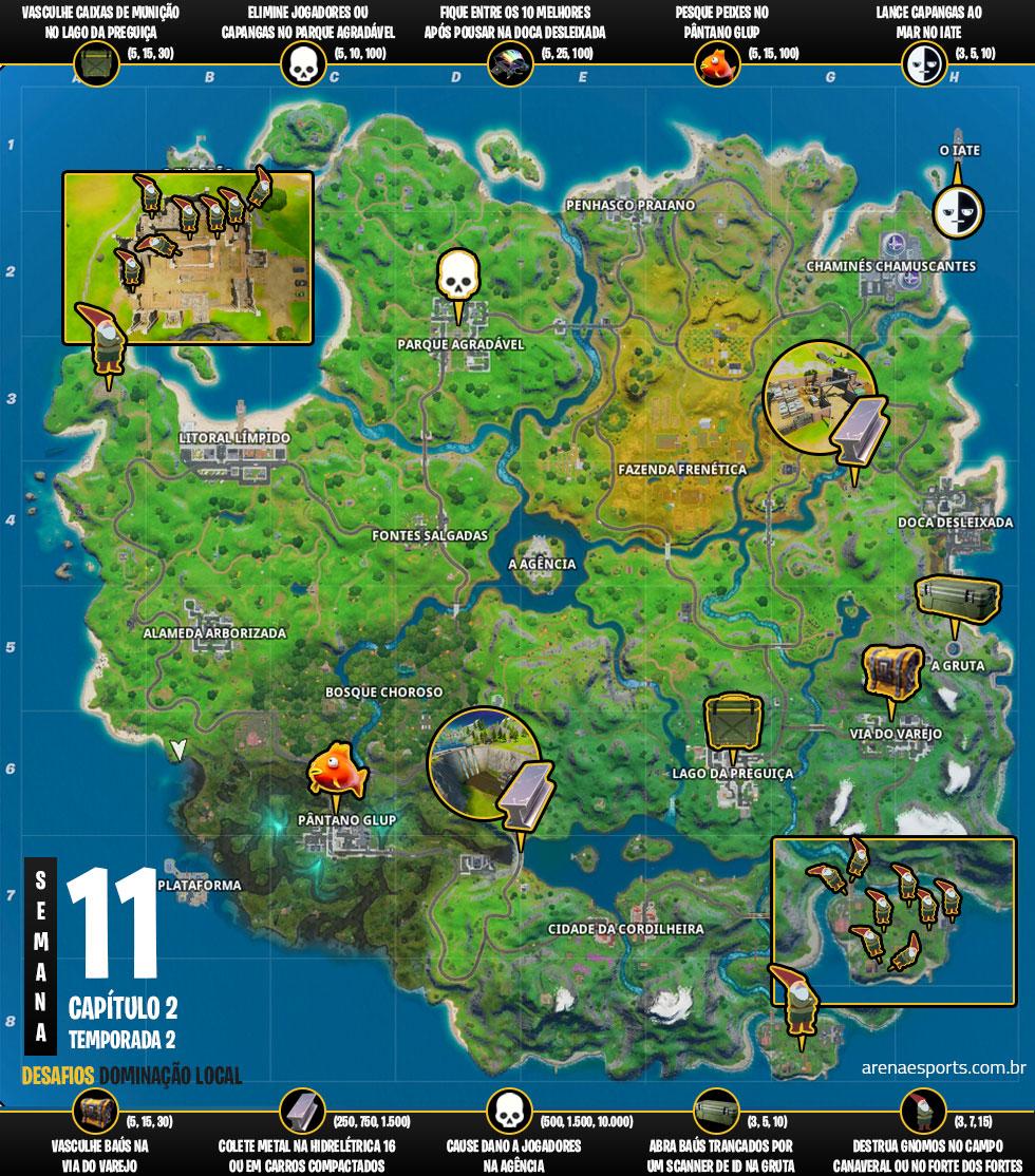 Mapa dos desafios Dominação Local no Fortnite