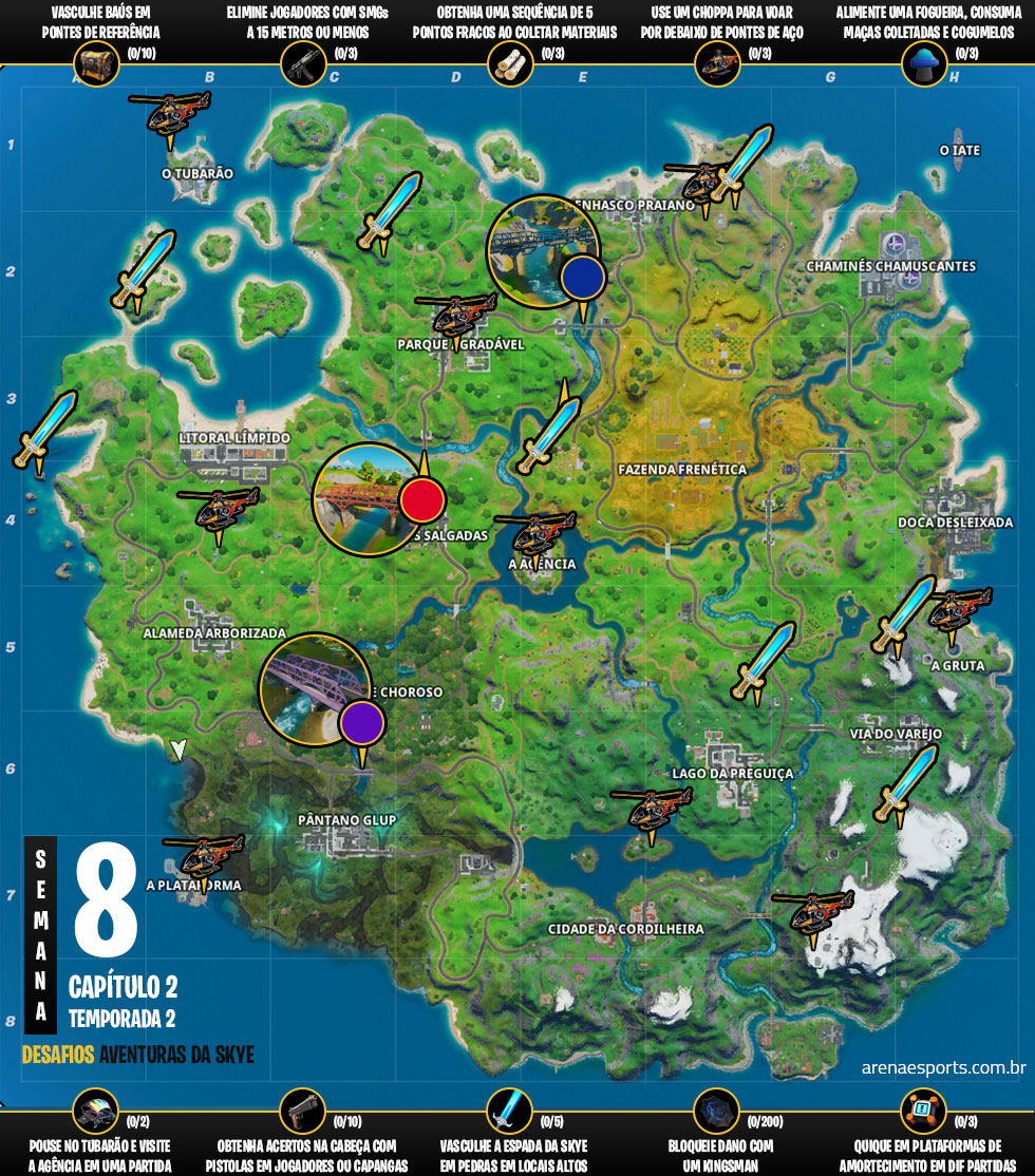 Mapa dos desafios Aventuras da Skye - Semana 2