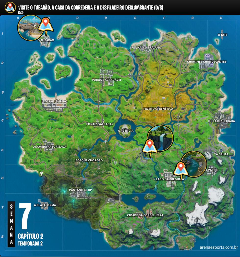 Veja onde encontrar o Tubarão, a Casa da Corredeira e o Desfiladeiro Deslumbrante no Fortnite