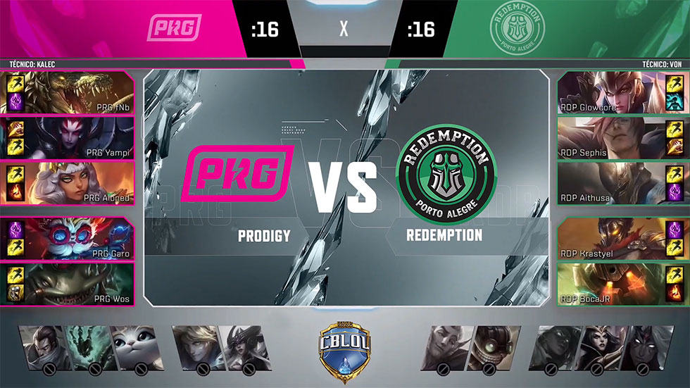 Picks e bans da partida (Imagem: LoLeSportsBR/Reprodução)