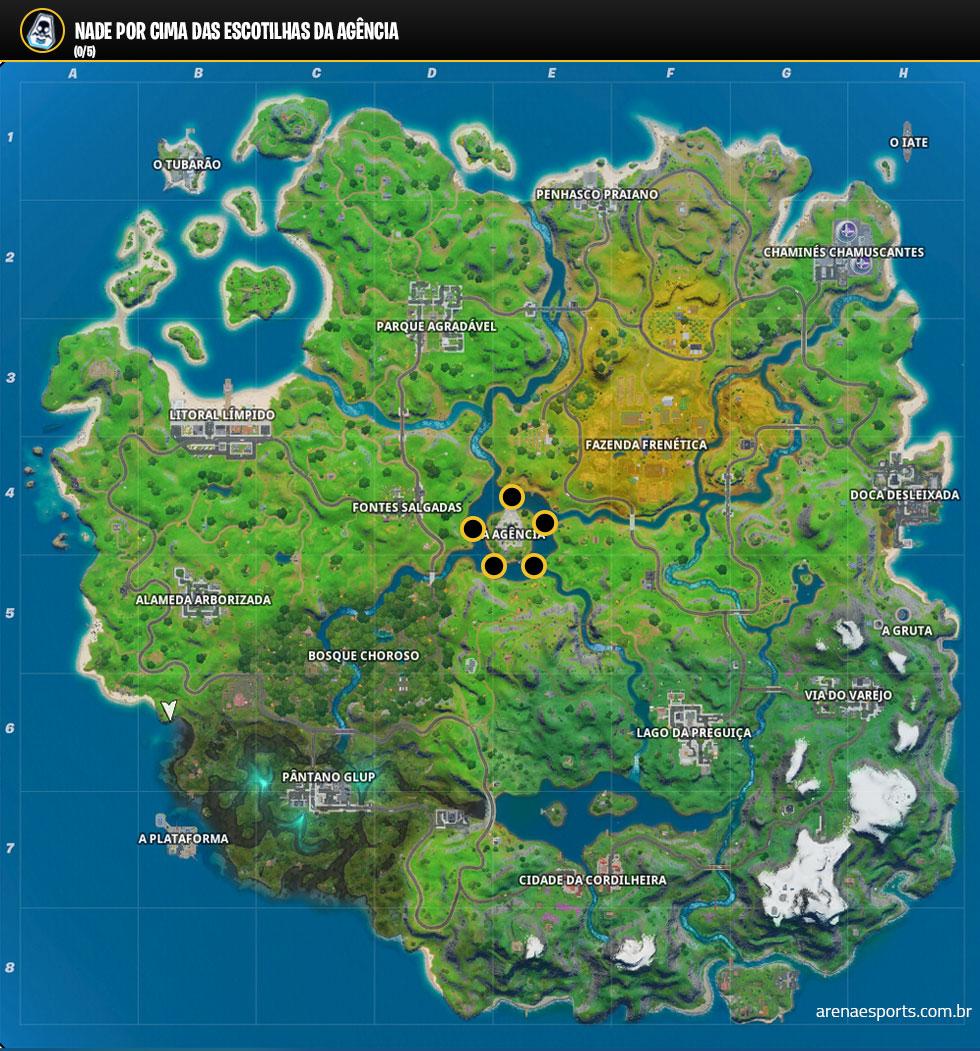 Localização das escotilhas no Fortnite