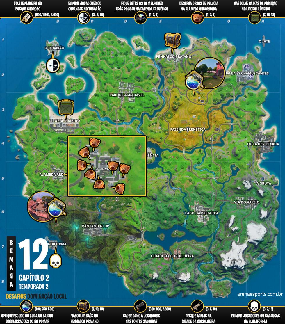 Mapa dos desafios