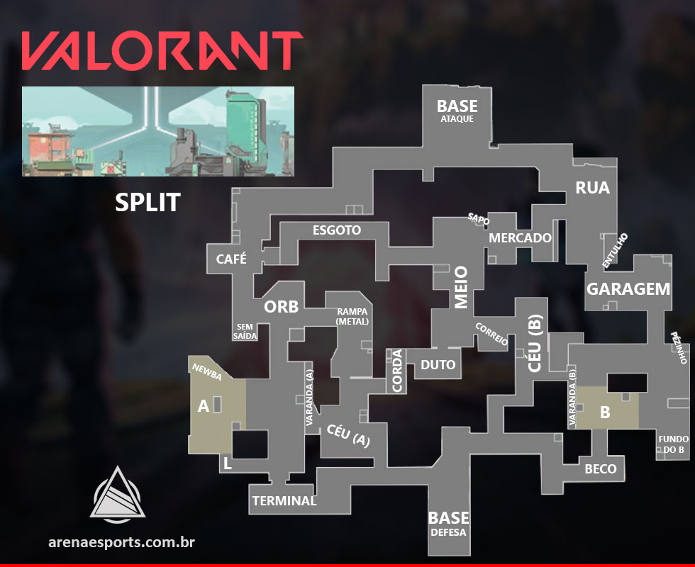 Nome das posições do mapa Split no VALORANT