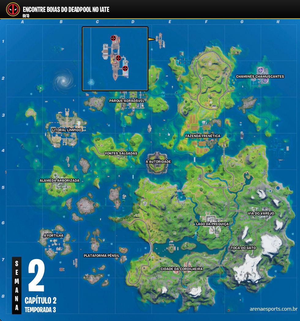 Localização das boias do Deadpool no Iate do Fortnite