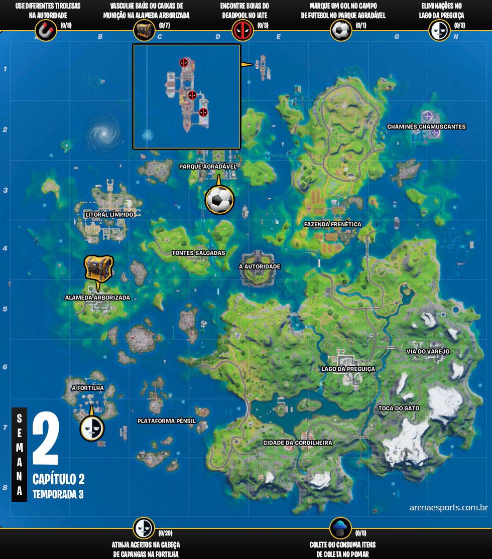 Mapa dos desafios da Semana 2 da Temporada 3 do Capítulo 2 de Fortnite