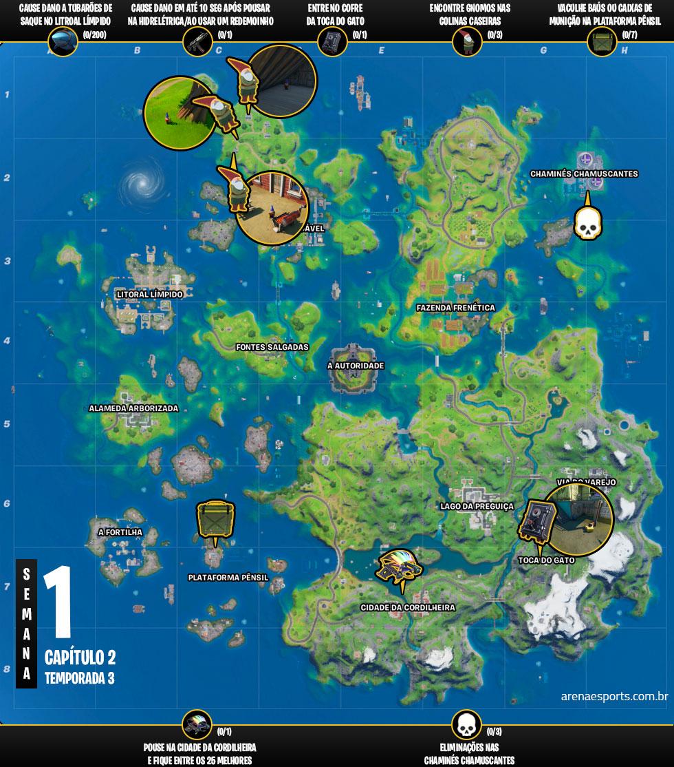 Mapa dos desafios da Semana 1 da Temporada 3 do Capítulo 2 de Fortnite