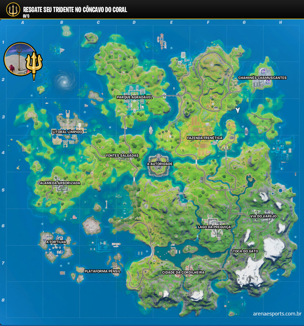 Localização do tridente do Aquaman no Fortnite