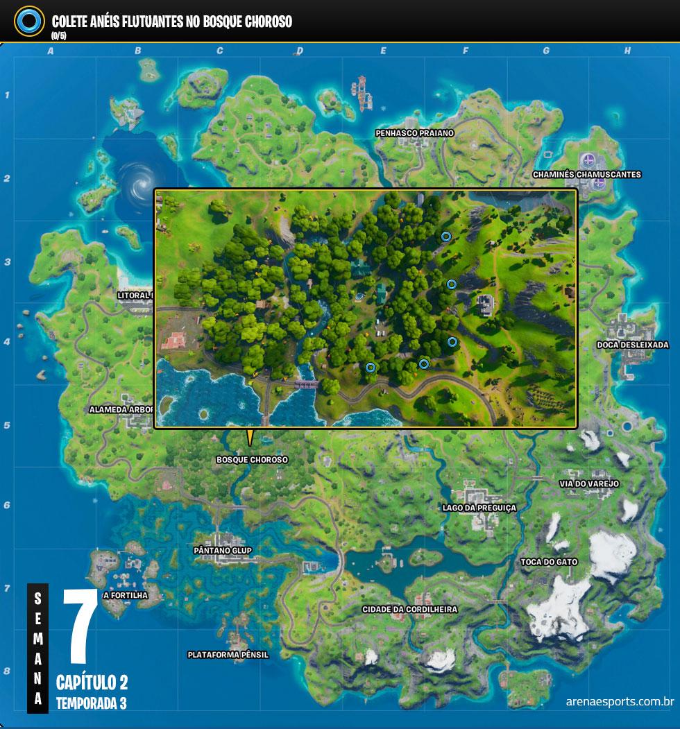 Localização dos Anéis Flutuantes no Fortnite