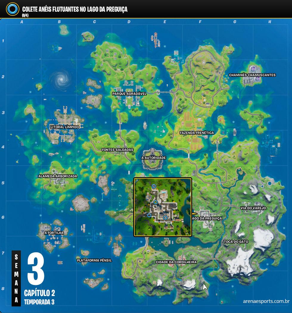 Localização dos Anéis Flutuantes no Lago da Preguiça de Fortnite