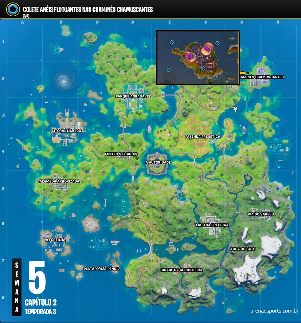 Localização dos Anéis Flutuantes nas Chaminés Chamuscantes de Fortnite