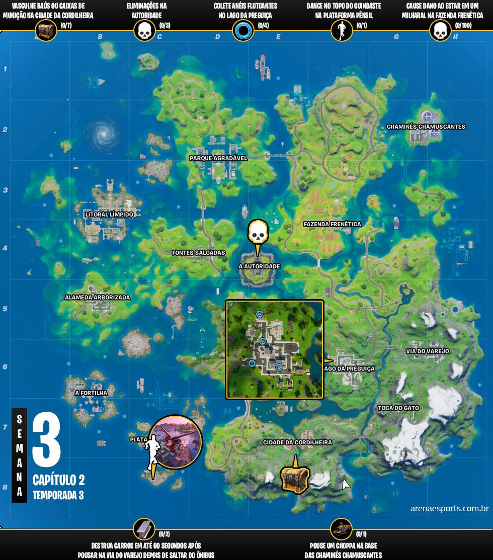 Mapa dos desafios da Semana 3 da Temporada 3 do Capítulo 2 de Fortnite