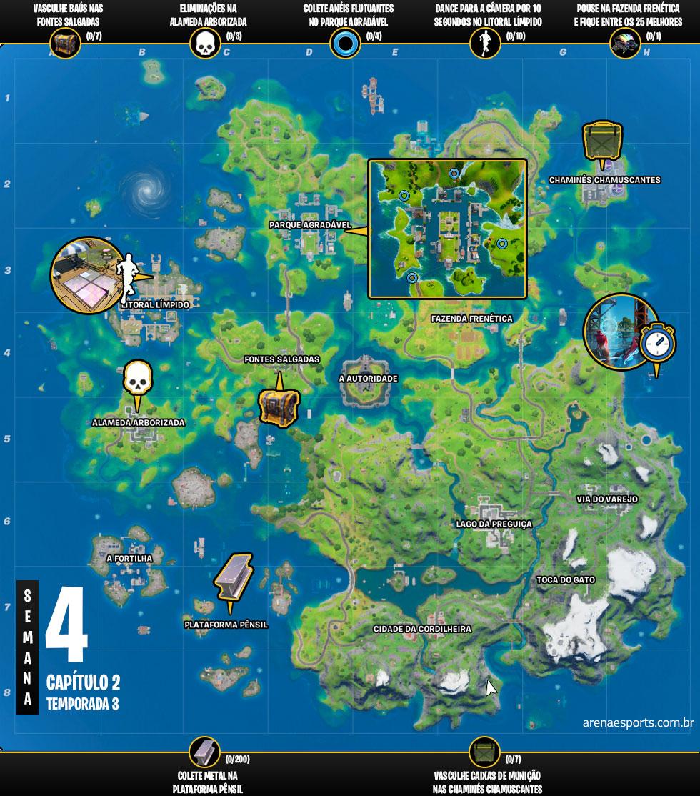 Mapa dos desafios da Semana 4 da Temporada 3 do Capítulo 2 de Fortnite