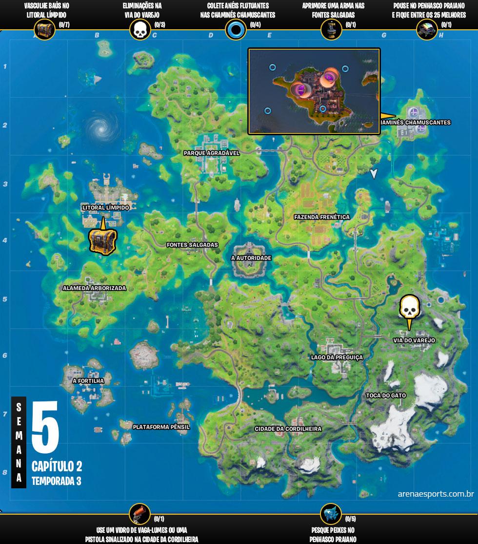 Mapa dos desafios da Semana 5 da Temporada 3 do Capítulo 2 de Fortnite