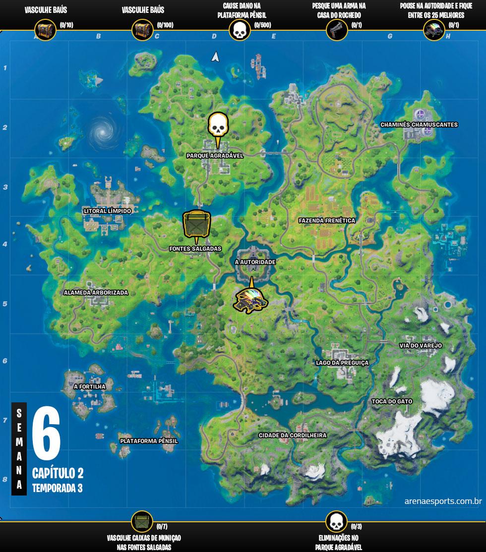 Mapa dos desafios da Semana 6 da Temporada 3 do Capítulo 2 de Fortnite