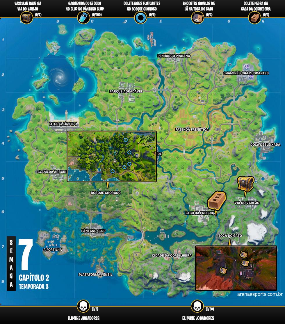 Mapa dos desafios da Semana 7 da Temporada 3 do Capítulo 2 de Fortnite