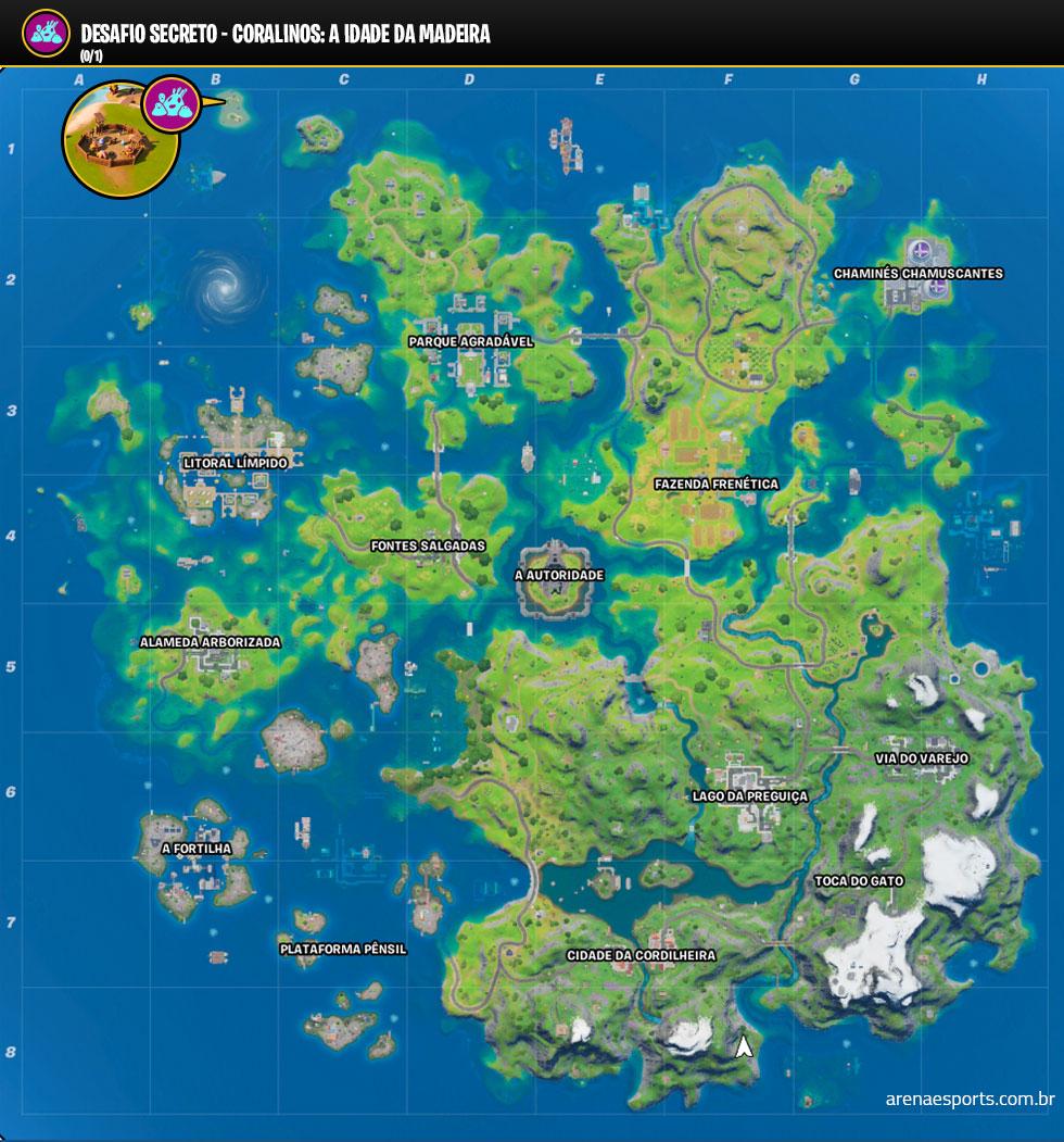 Localização dos Coralinos no Fortnite