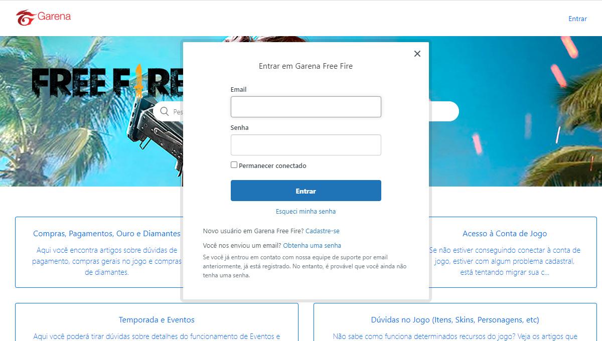 Para conseguir contato é necessário realizar o login. (Imagem: site oficial suporte Garena)