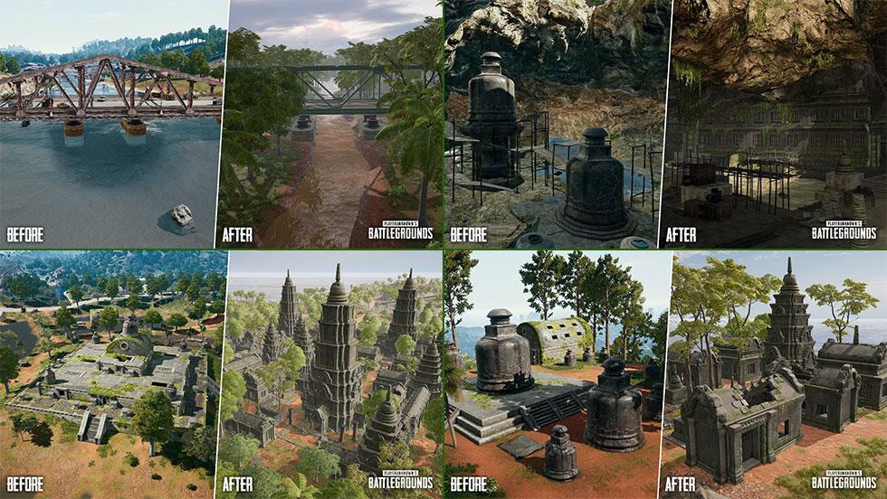 Diversas pontos de Sanhok sofreram mudanças (Imagem: PUBG Corp/Reprodução)