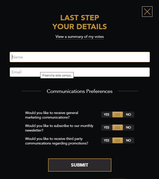 Preencha com seu nome e email para votar no site do Esports Awards (Imagem: Site Esports Awards)