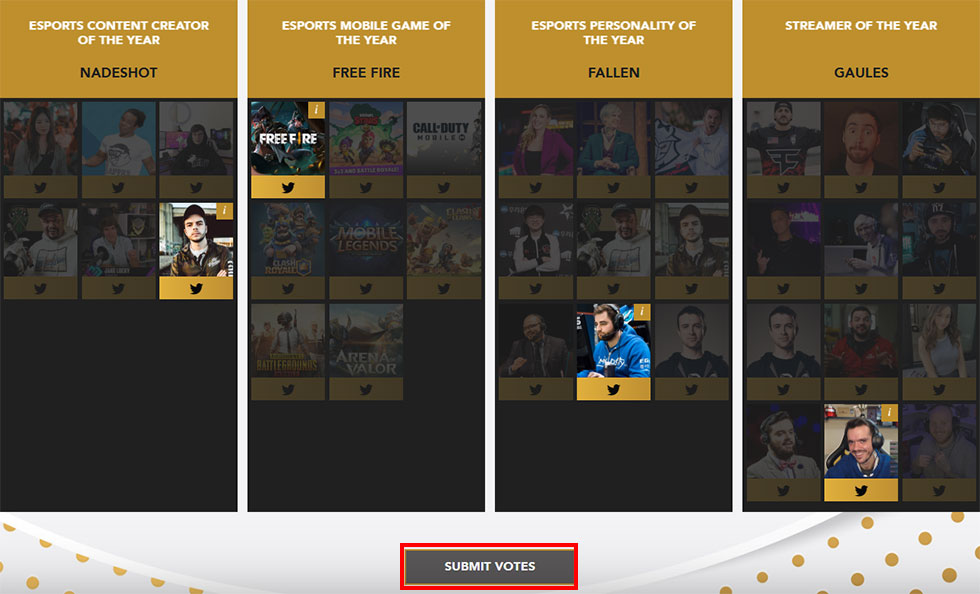 """Após selecionar em quem quer votar, clique em """"Submit Votes"""" (Imagem: Site Esports Awards)"""