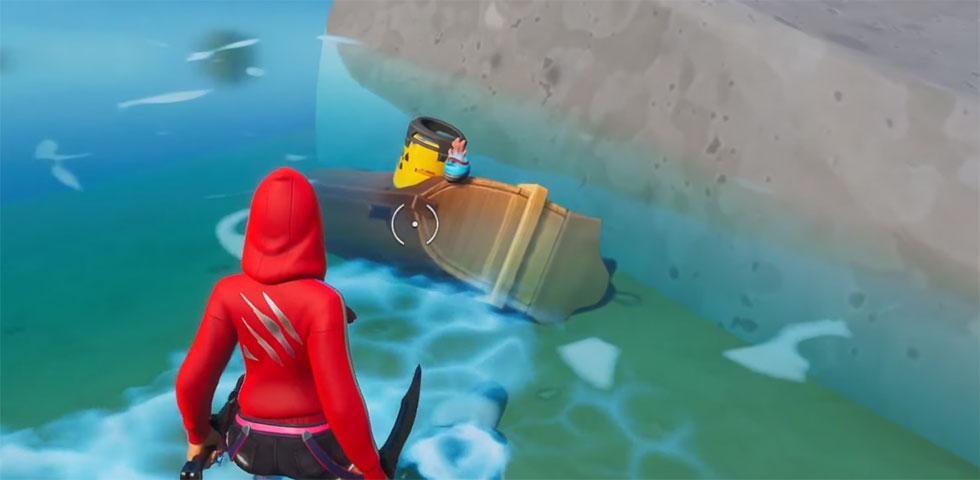 Conteiner Nuclear está em cima de um pequeno navio afundado (Imagem:  Knight Breaker/Youtube)