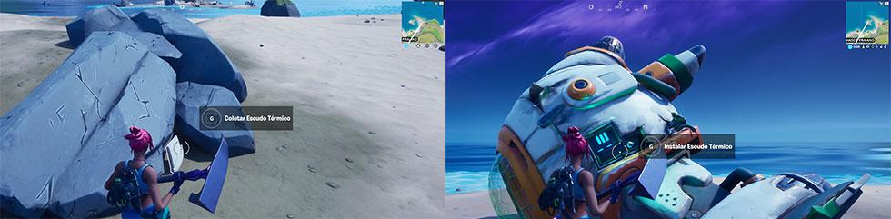 Escudo térmico está na praia em volta da ilha