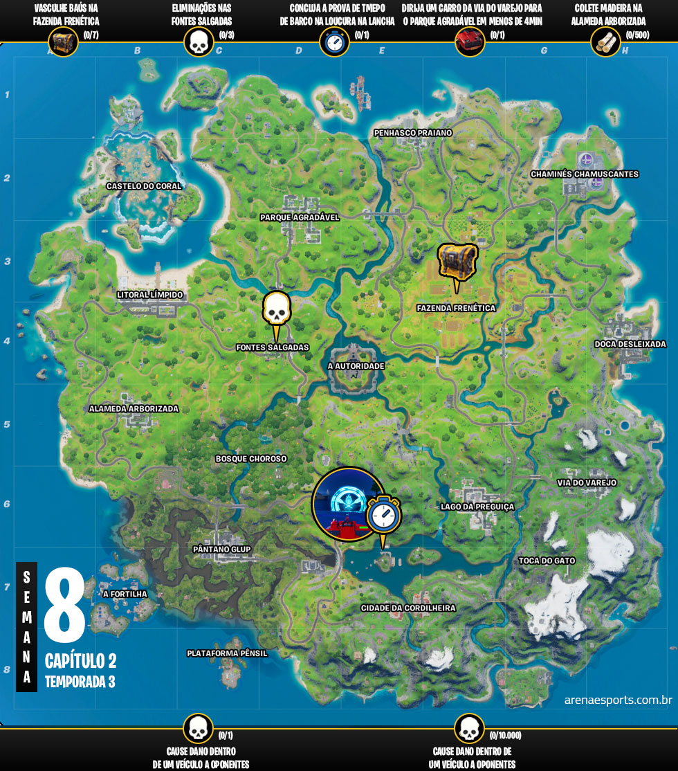 Mapa dos desafios da Semana 8 da Temporada 3 do Capítulo 2 de Fortnite