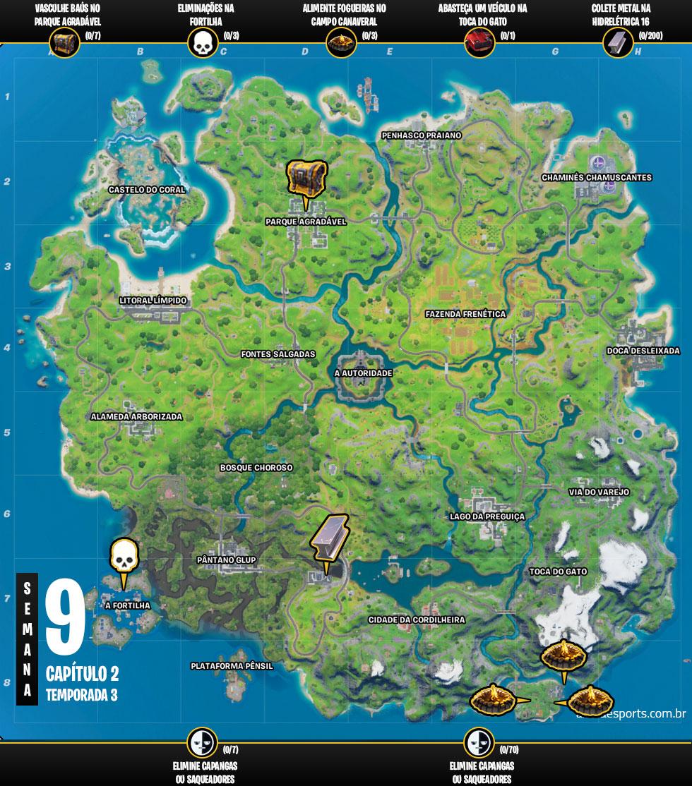 Mapa dos desafios da Semana 9 da Temporada 3 do Capítulo 2 de Fortnite