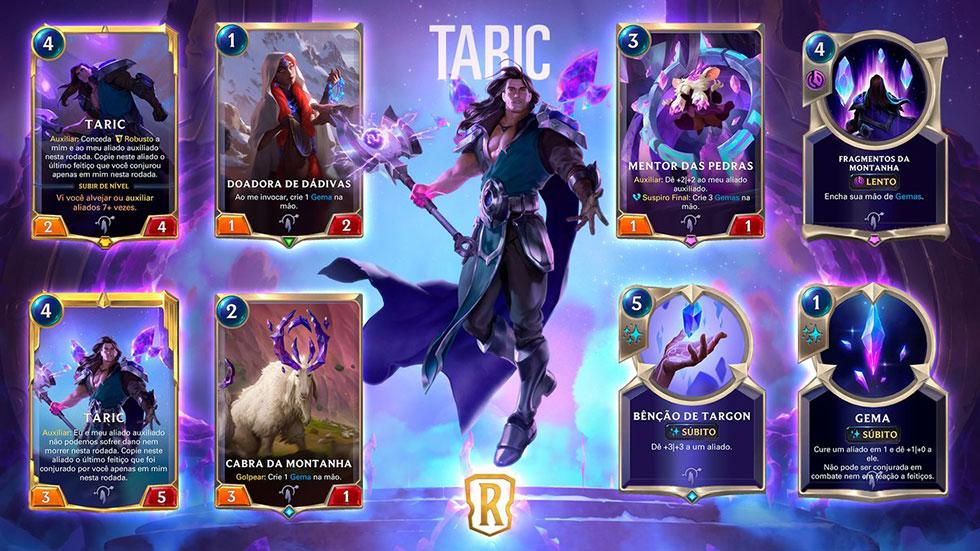 Novas cartas foram apresentadas junto de Taric (imagem: Riot Games/Reprodução)
