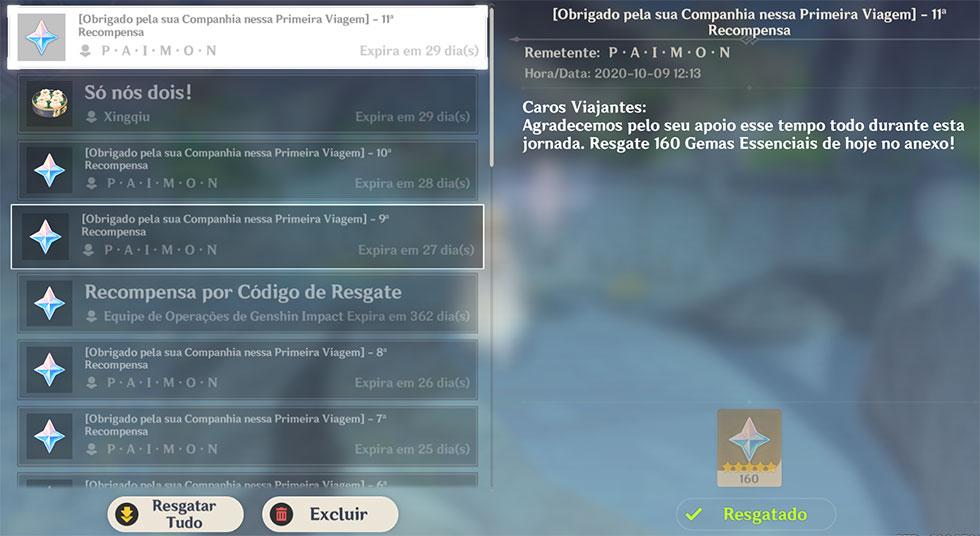 Gemas serão enviadas diretamente ao seu e-mail dentro do jogo (Imagem: Reprodução)