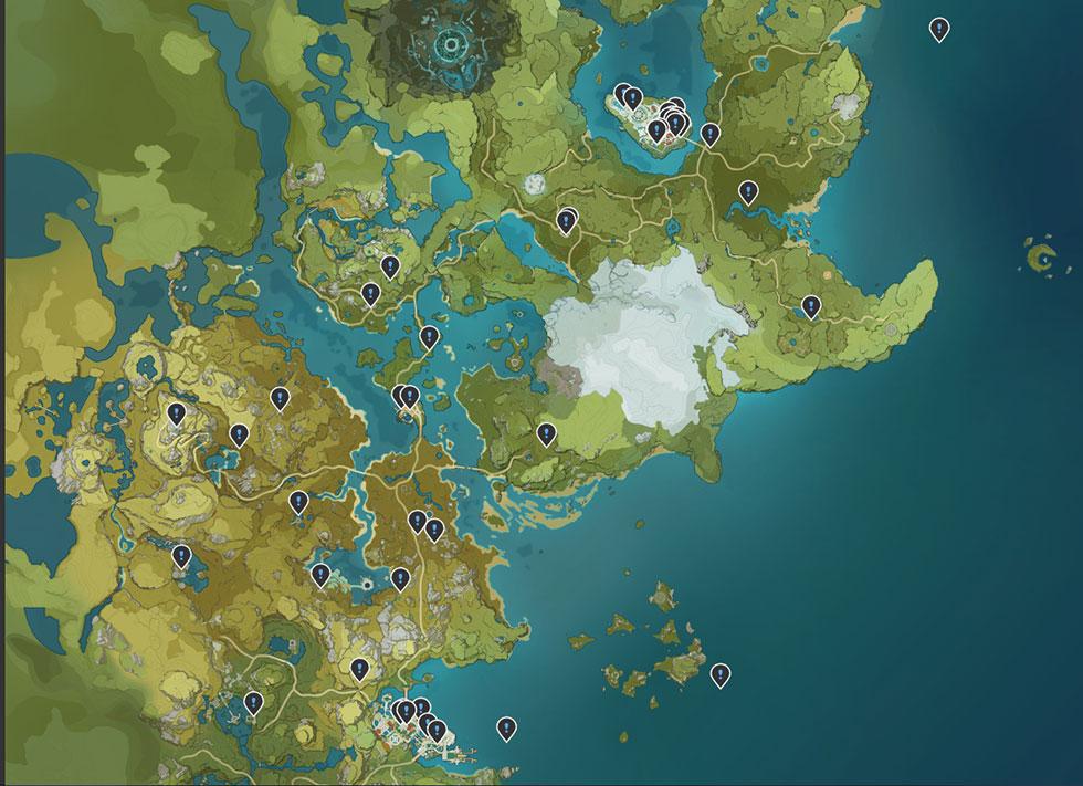 Algumas missões só poderão ser feitas em certos níveis  (Imagem: Genshin Impact Map appsample/Reprodução)