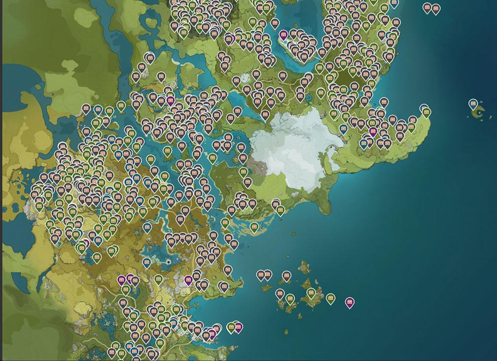 Baús concedem itens e muitos outros benefícios ao serem abertos (Imagem: Genshin Impact Map appsample/Reprodução)