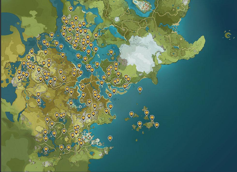 Encontrar todos os geoculus lhe dará uma boa quantidade de estamina (Imagem: Genshin Impact Map appsample/Reprodução)