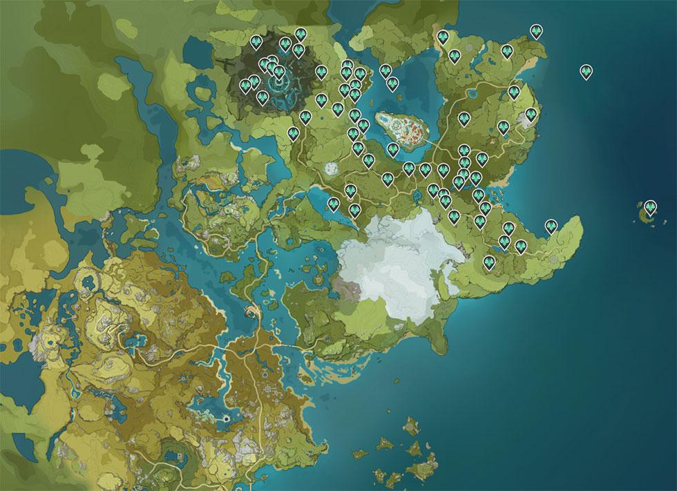 Também conhecidos como Anemoculus, esse pequeno coletável é muito útil (Imagem: Genshin Impact Map appsample/Reprodução)