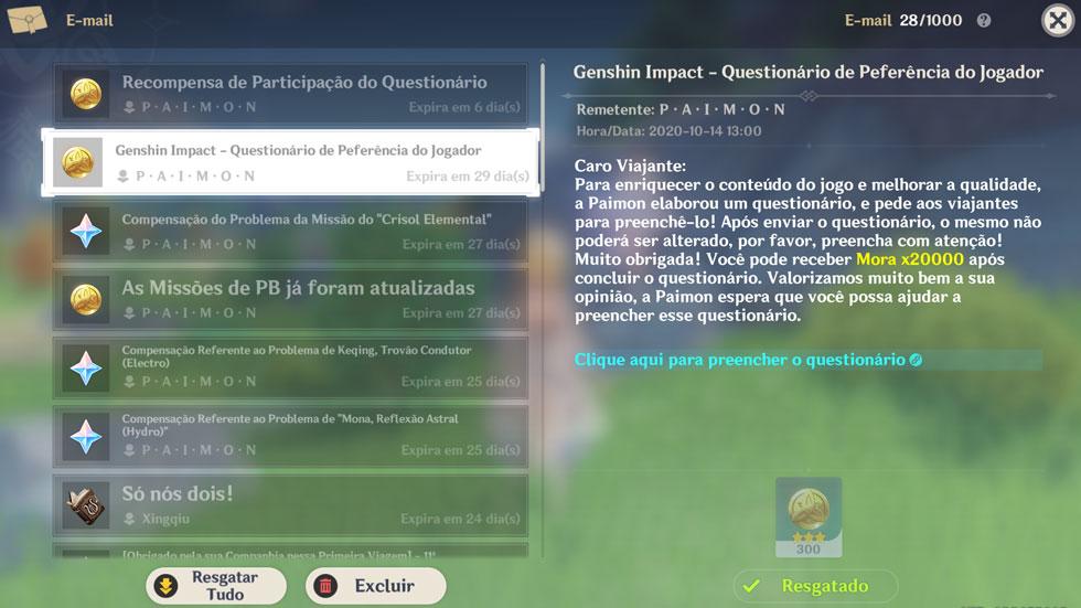 Questionário pode ser encontrado no e-mail do game (Imagem: Reprodução)