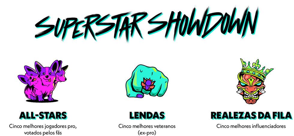 Lendas, influenciadores e proplayers formarão superequipes no Superstar Showdown (Imagem: Riot Games/Reprodução)