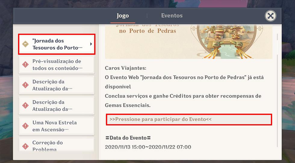 Evento pode ser acessado através do menu de notícias (Imagem: Reprodução)