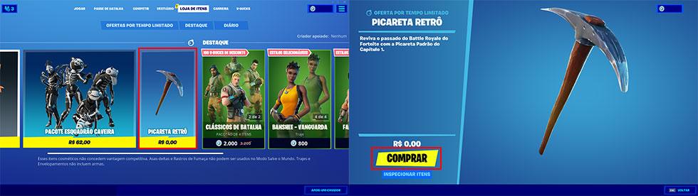 No PC, picareta pode ser encontrada na loja (Imagem: Epic Games/Montagem)