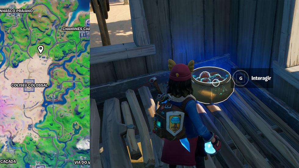 Localização da cesta de tomate em uma fazenda próxima em Fortnite (Imagem: Reprodução)