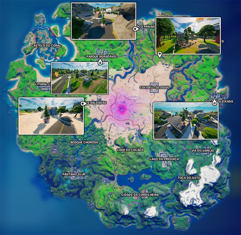 Localização das Árvores Festivas em Fortnite (Imagem: Montagem)