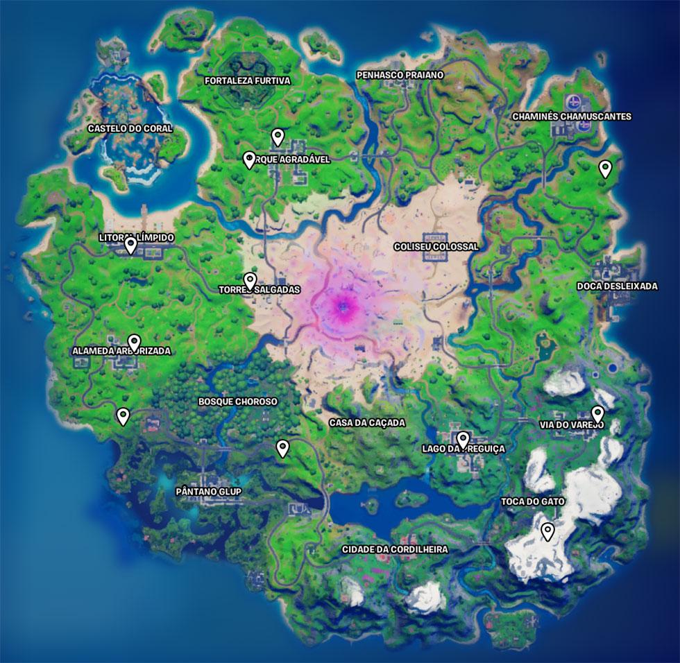 Localização das estátuas de Quebra-nozes no Fortnite (Imagem: Reprodução)